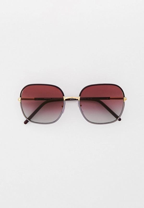 женские круглые солнцезащитные очки prada, фиолетовые