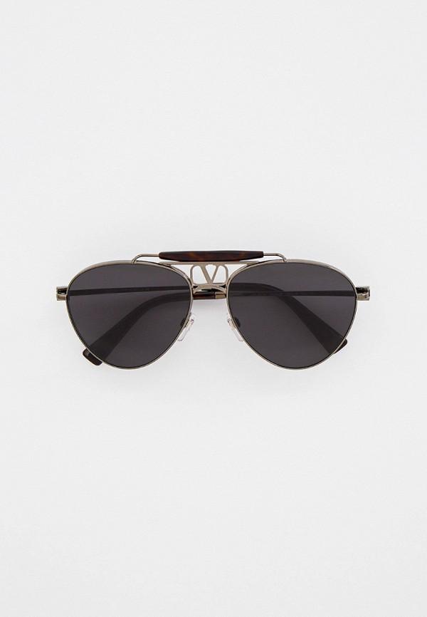 женские авиаторы солнцезащитные очки valentino, серебряные