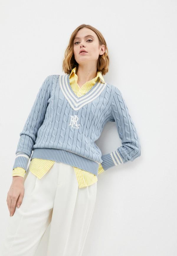 женский пуловер lauren ralph lauren, голубой