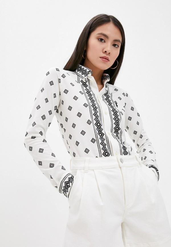 женская рубашка с длинным рукавом polo ralph lauren, белая