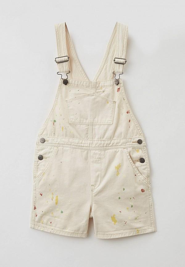 джинсовые комбинезон polo ralph lauren для девочки, бежевый