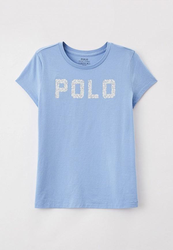 футболка с коротким рукавом polo ralph lauren для девочки, голубая