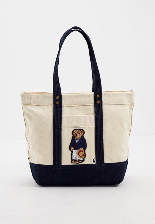 женская сумка-шоперы polo ralph lauren, бежевая