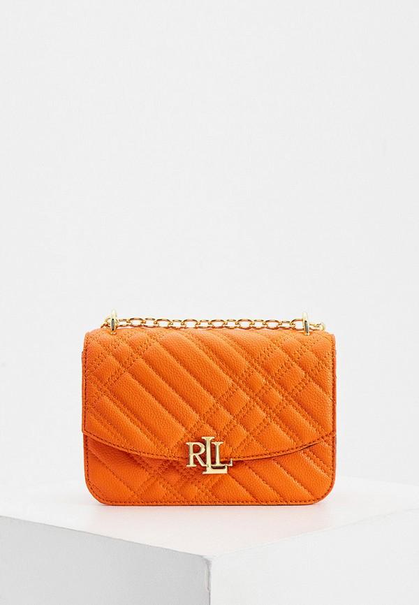 женская сумка через плечо lauren ralph lauren, оранжевая