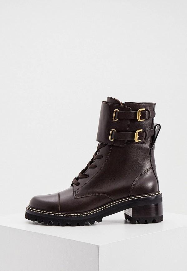 женские высокие ботинки see by chloe, коричневые