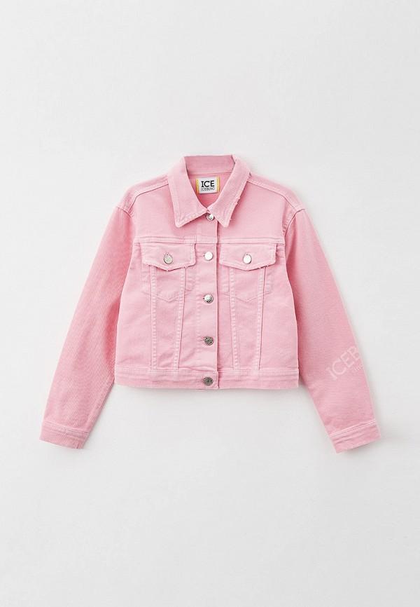 джинсовые куртка ice iceberg для девочки, розовая