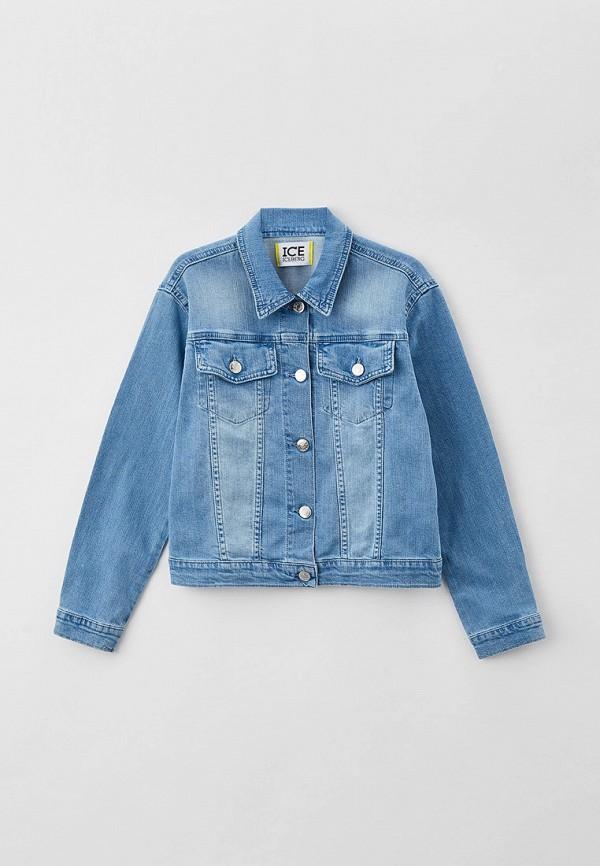 джинсовые куртка ice iceberg для девочки, голубая