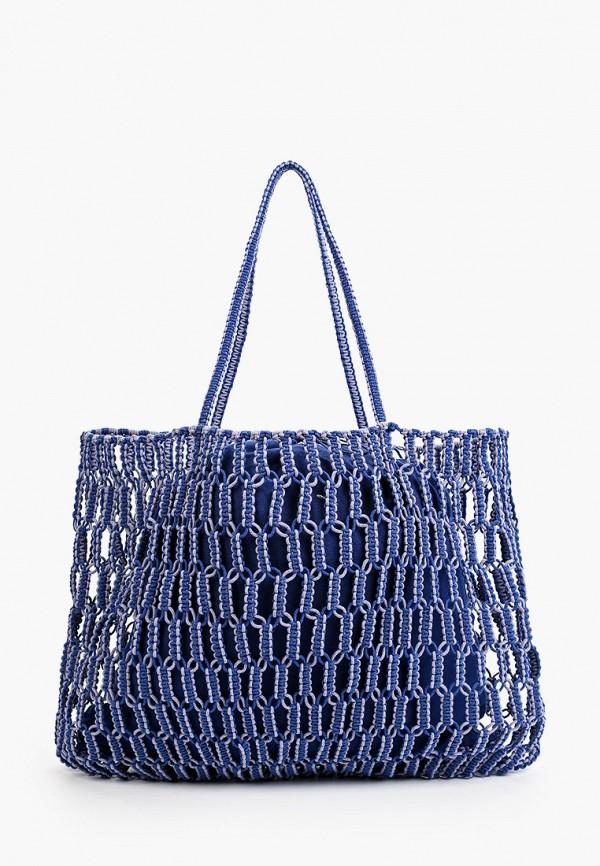 женская сумка-шоперы mango, синяя