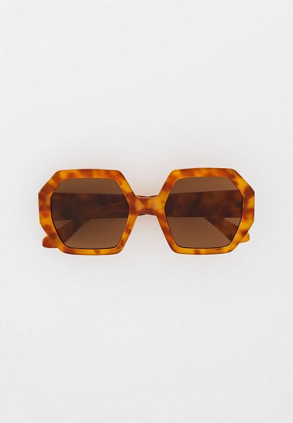 женские квадратные солнцезащитные очки mango, коричневые
