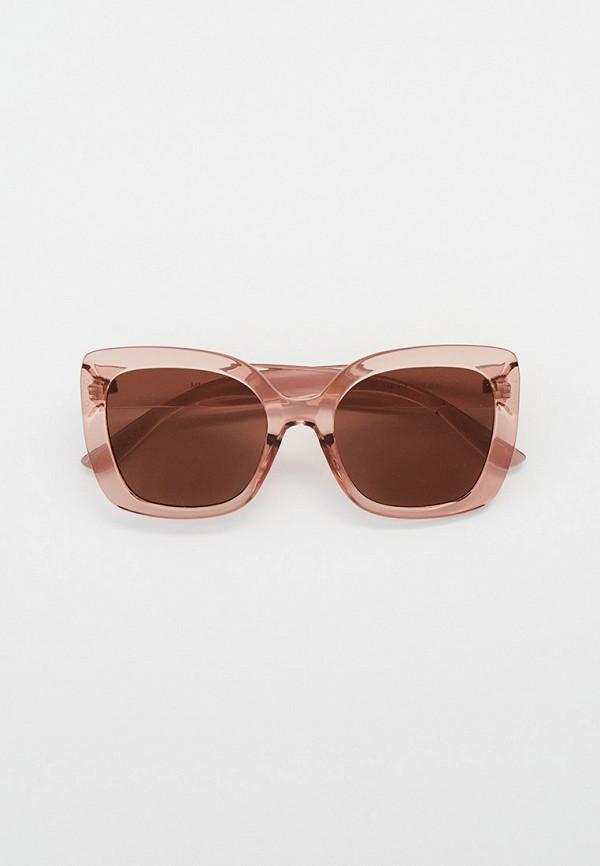 женские квадратные солнцезащитные очки mango, розовые