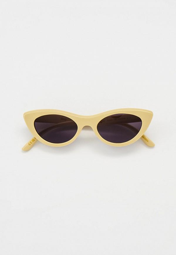 женские солнцезащитные очки кошачьи глаза mango, бежевые