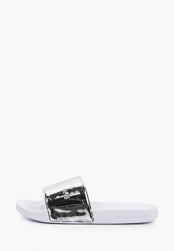 женское сабо calvin klein, серебряное