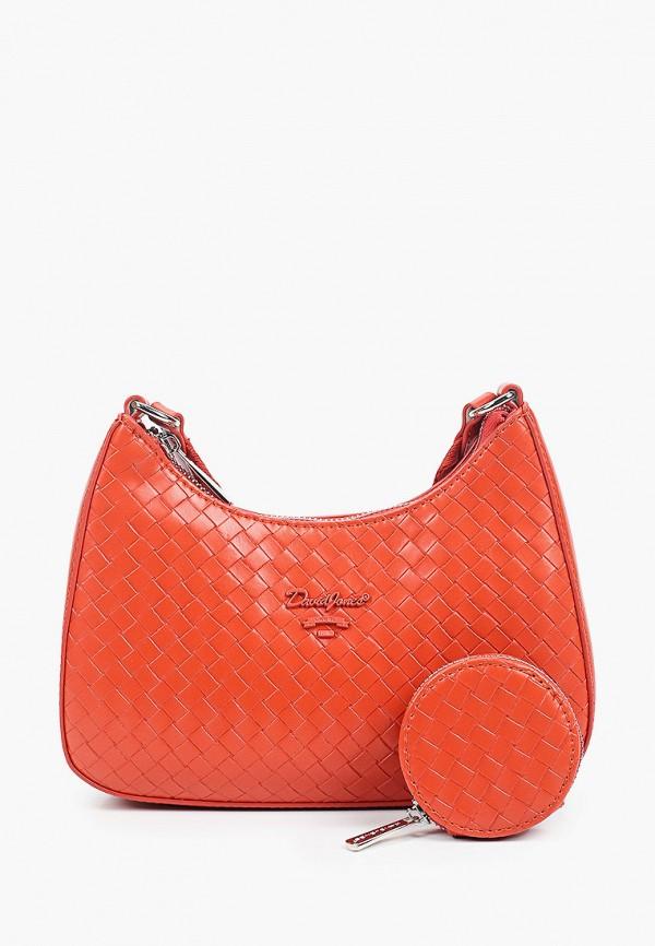 женский кошелёк через плечо david jones, оранжевый