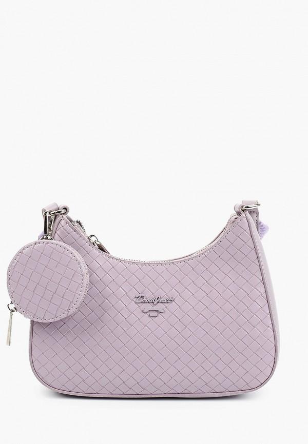 женский кошелёк через плечо david jones, фиолетовый