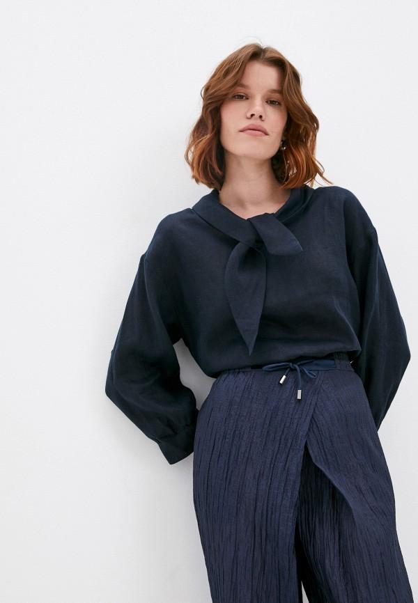 женская блузка emporio armani, синяя