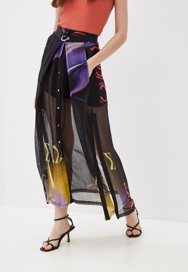 женская юбка-трапеции diesel, черная