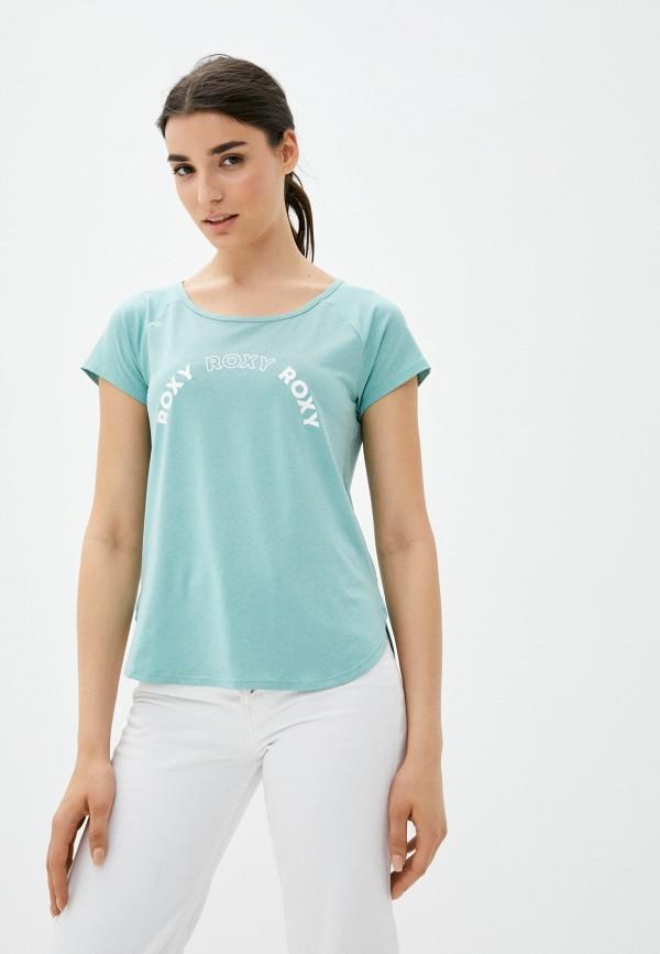 женская футболка roxy, бирюзовая