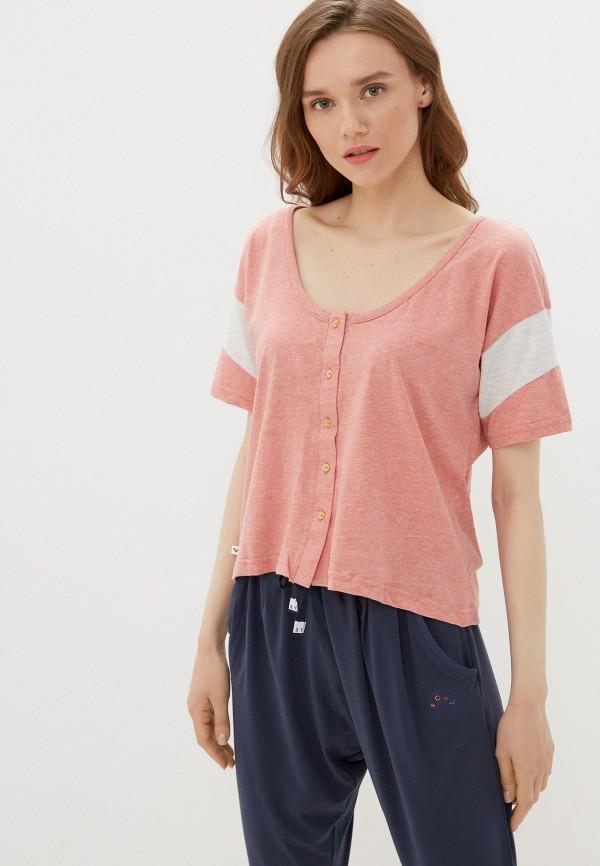 женская футболка roxy, розовая