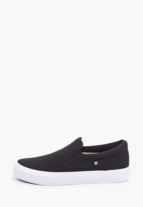 женские низкие слипоны dc shoes, черные