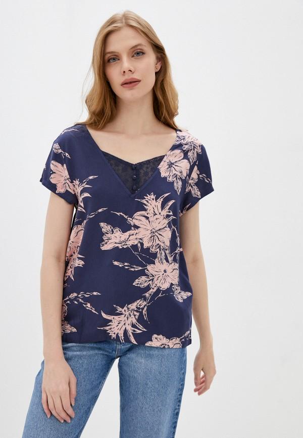 женская блузка roxy, синяя