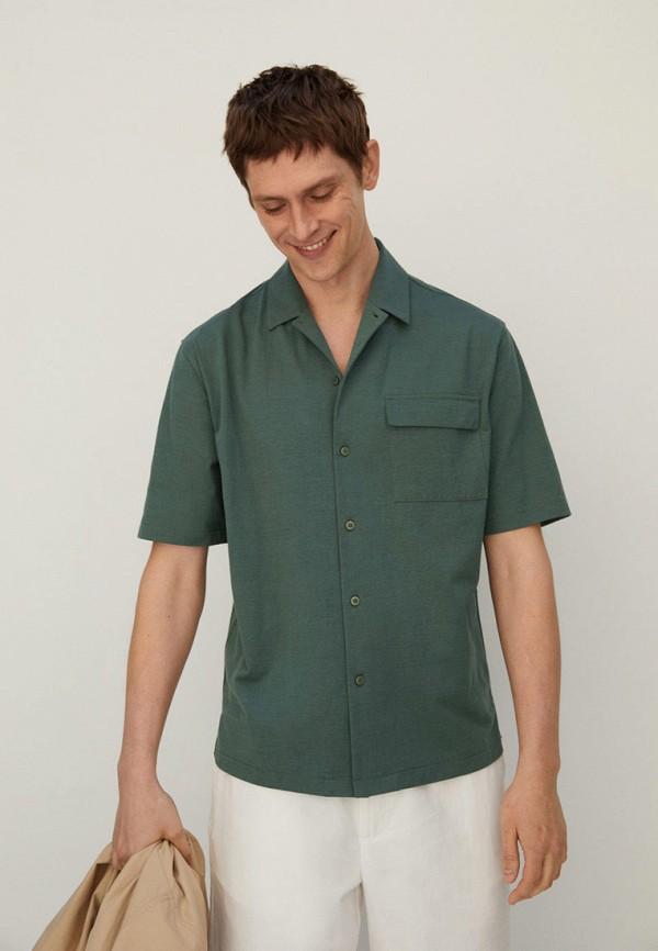 мужская рубашка с коротким рукавом mango man, зеленая