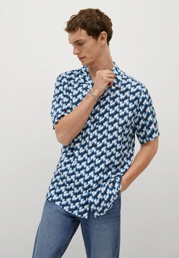 мужская рубашка с коротким рукавом mango man, синяя