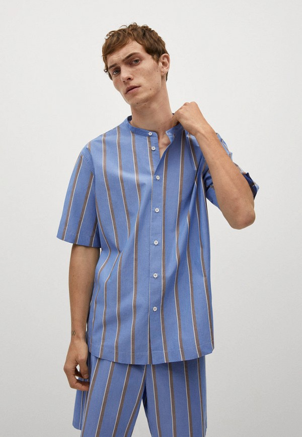 мужская рубашка с коротким рукавом mango man, голубая