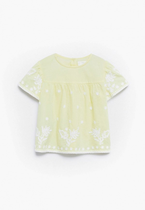 блузка mango kids для девочки, желтая