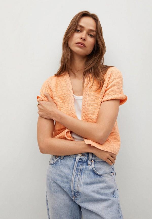 женский кардиган mango, оранжевый
