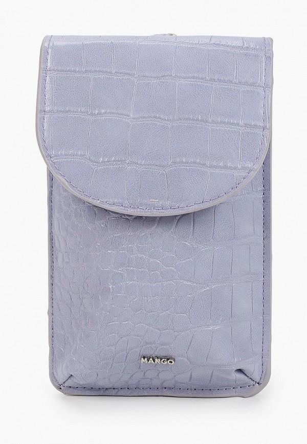 женский кошелёк через плечо mango, фиолетовый