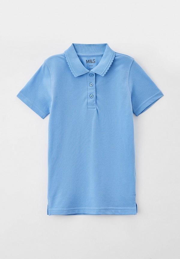 поло marks & spencer для девочки, голубое