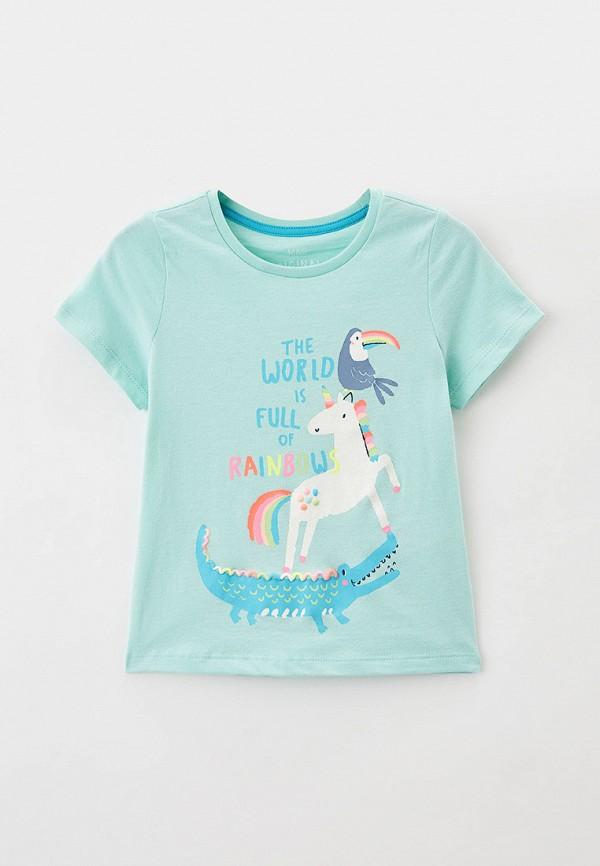 футболка с коротким рукавом marks & spencer для девочки, бирюзовая