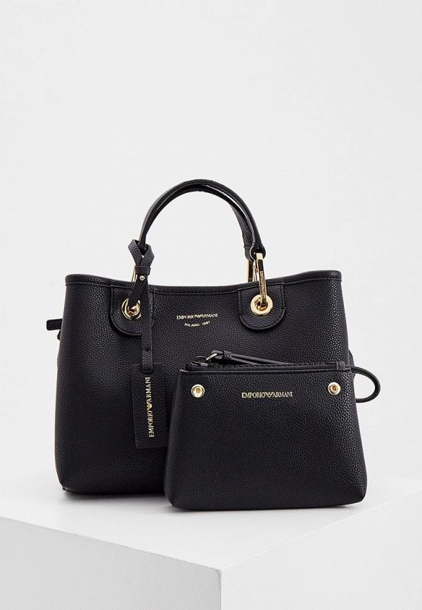 женский кошелёк с ручками emporio armani, черный