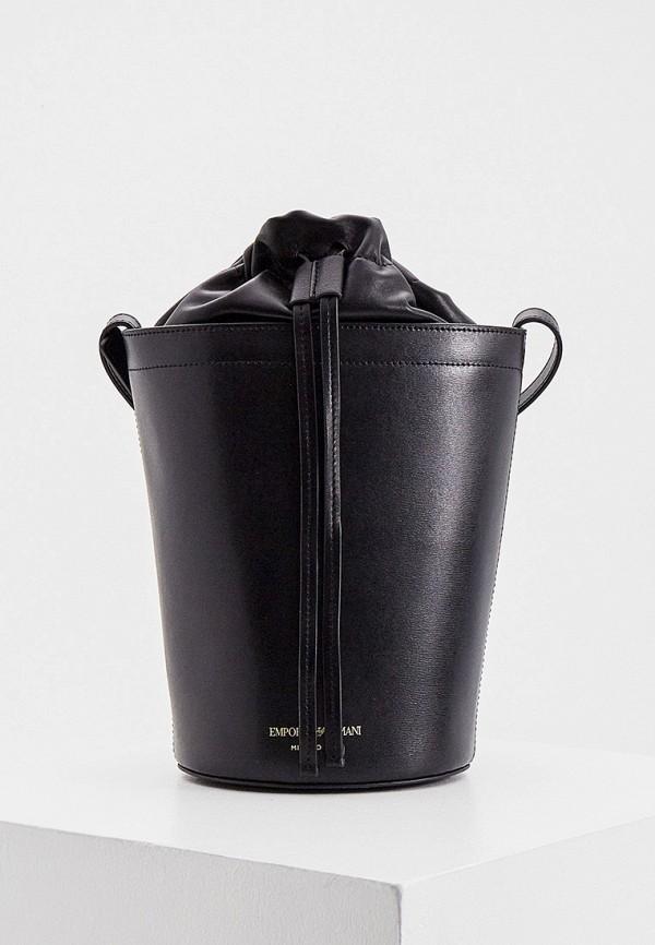 женская сумка-ведро emporio armani, черная