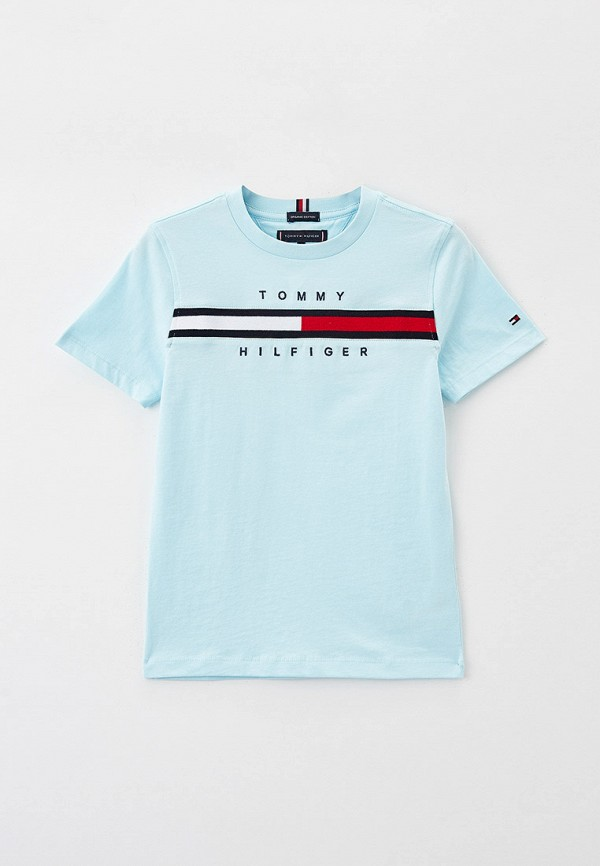 футболка с коротким рукавом tommy hilfiger для мальчика, голубая