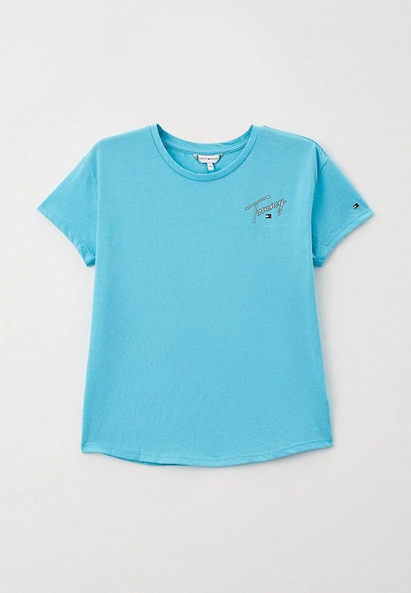 футболка с коротким рукавом tommy hilfiger для девочки, голубая