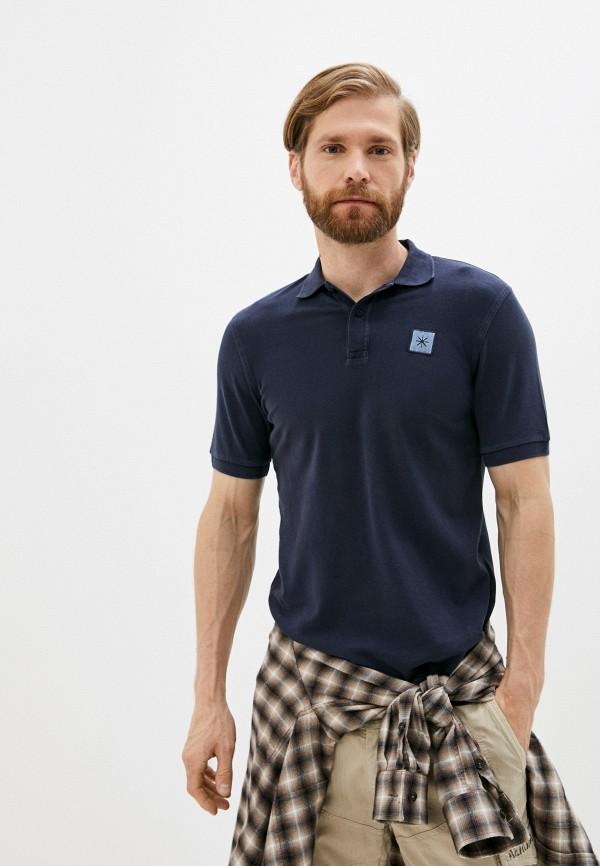 мужское поло с коротким рукавом manuel ritz, синее
