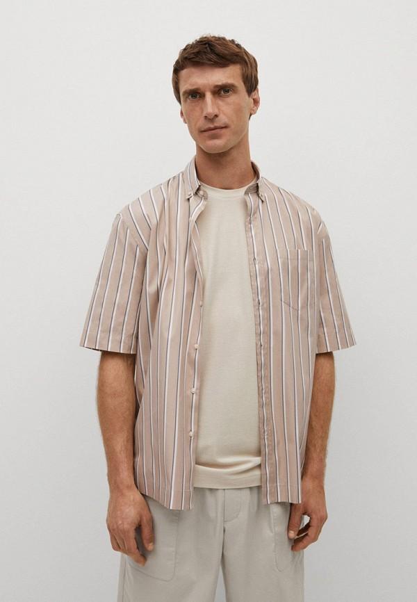 мужская рубашка с коротким рукавом mango man, бежевая