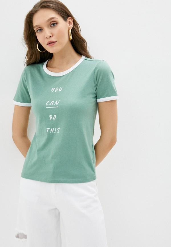 женская футболка koton, зеленая