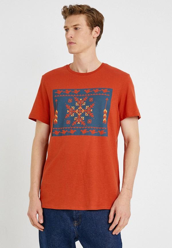 мужская футболка с коротким рукавом koton, оранжевая