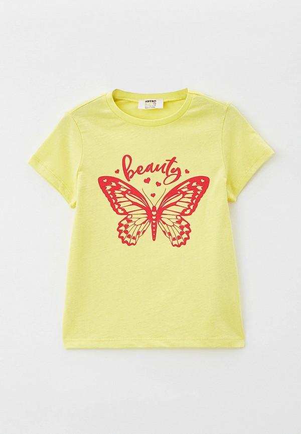 футболка с коротким рукавом koton для девочки, желтая