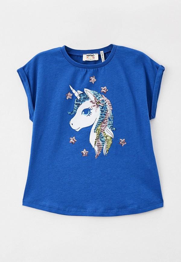 футболка с коротким рукавом koton для девочки, синяя