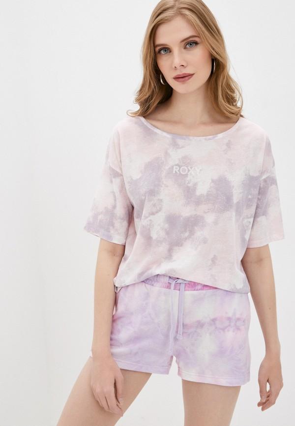 женская спортивные футболка roxy, фиолетовая