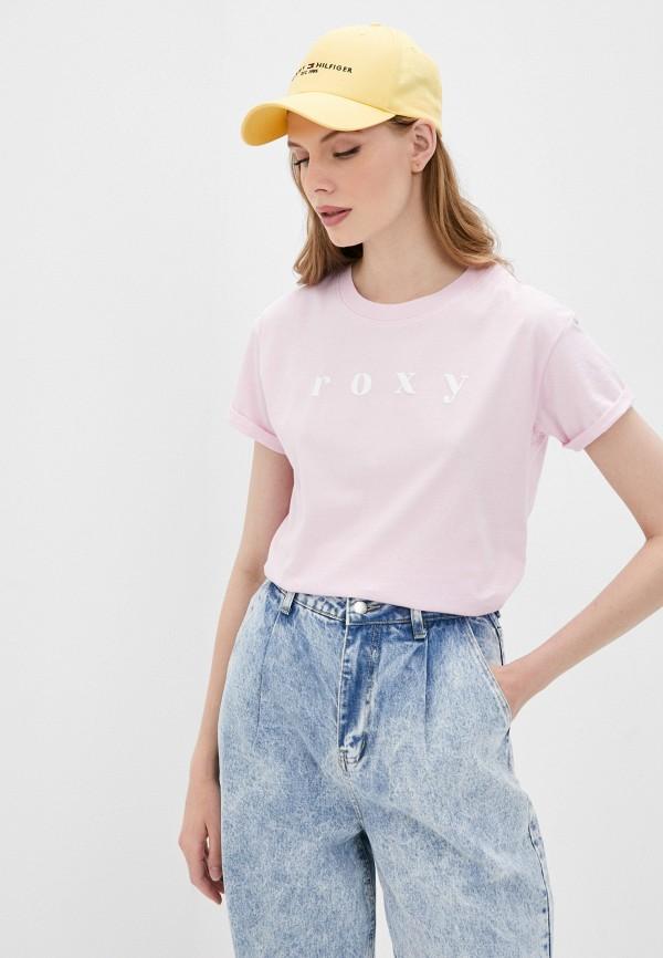 женская спортивные футболка roxy, розовая