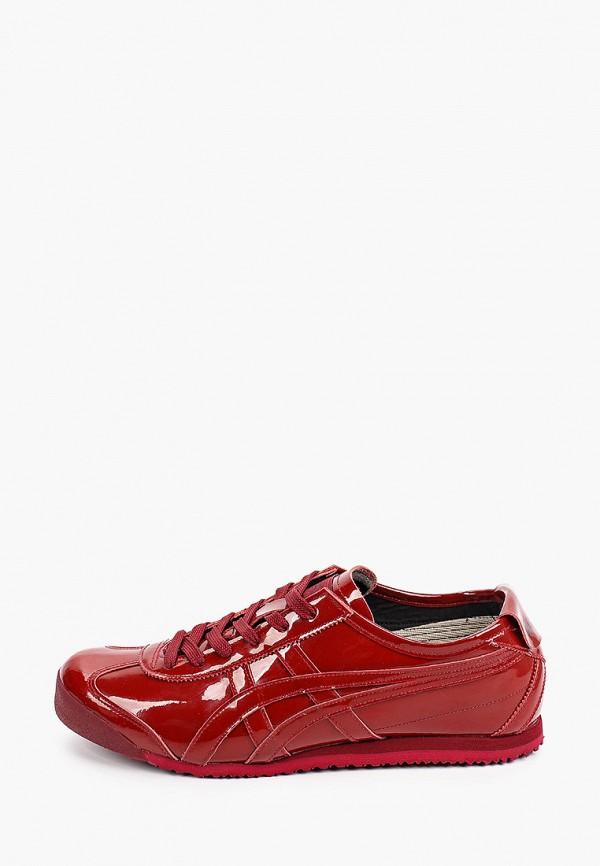 женские низкие кроссовки onitsuka tiger, бордовые