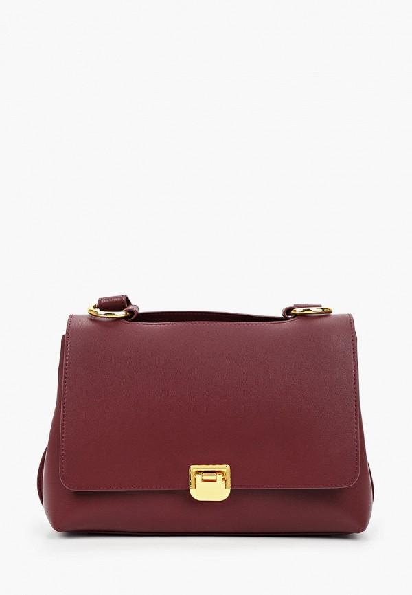 женская сумка с ручками francesca peretti, бордовая