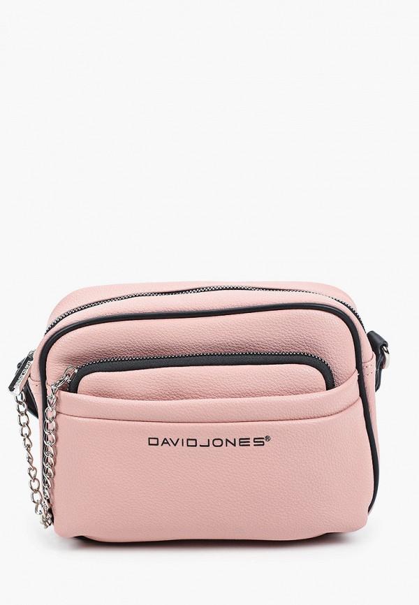 женский кошелёк через плечо david jones, розовый