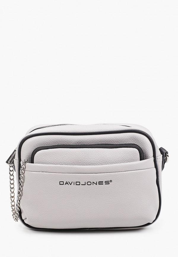 женский кошелёк через плечо david jones, серый