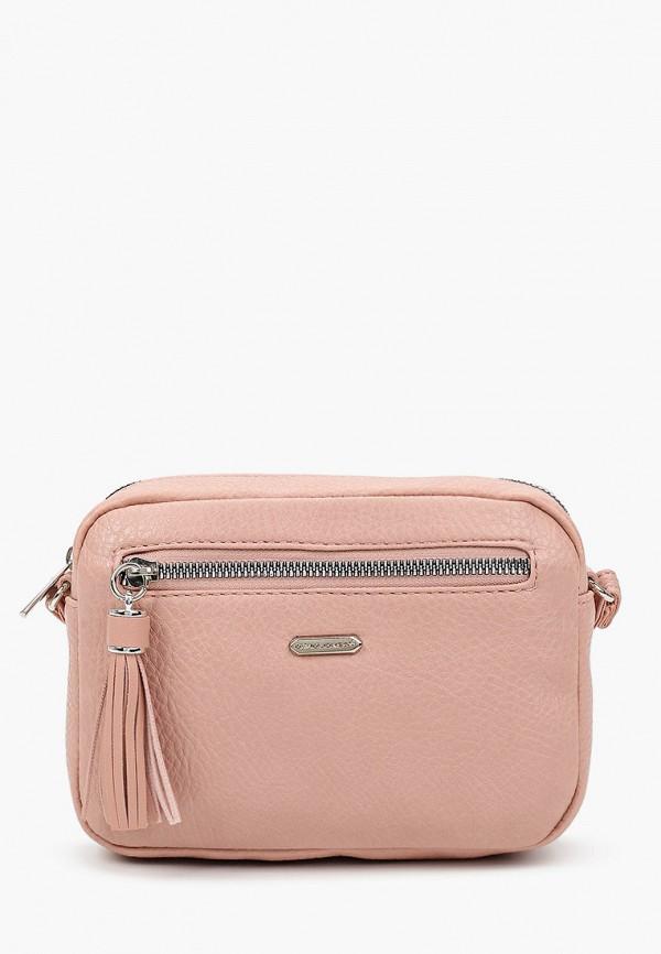 женская сумка через плечо david jones, розовая