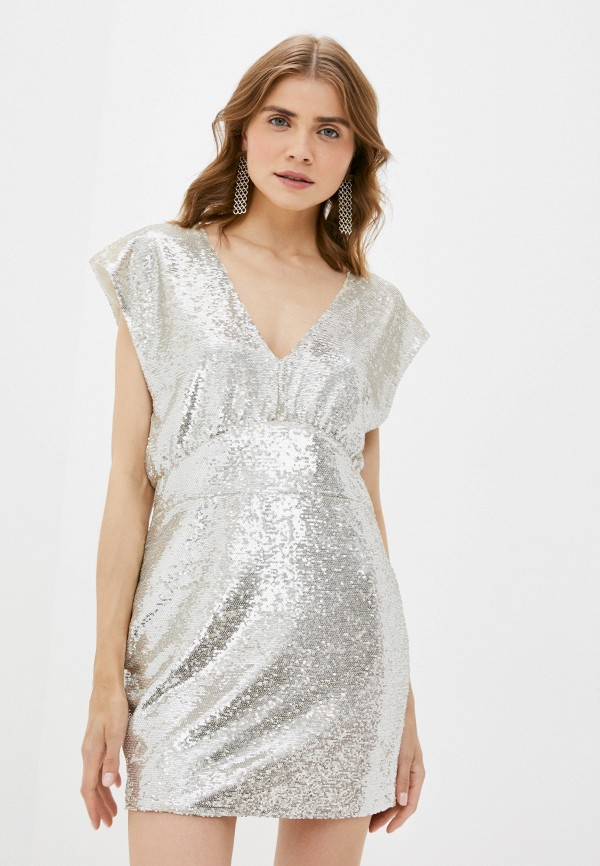 женское вечерние платье silvian heach, серебряное
